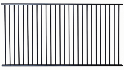 black flat top aluminium pool fence panel